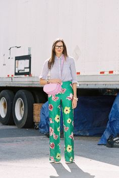 Jenna Lyons, Creative Director J.Crew, after J.Crew, NYC, September 2012.    Recreate Jenna's look (kind of):    Printed pants: J.Crew Cafe floral print pants, J.Crew paisley print pants, Thakoon Embroidered cuffed trousers, ASOS Premium floral pants or Miu Miu printed pants    Striped shirt: J.Crew Striped cotton-voile top or Jil Sander Anita striped shirt