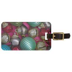 Colorful christmas ornaments luggage tag - glitter glamour brilliance sparkle design idea diy elegant