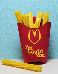Cute McChain inspired valentine... also a file for making fry boxes!
