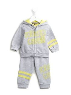 striped and textured logo tracksuit set