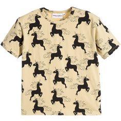 Beige 'Unicorn' print T-shirt by Mini Rodini. Made in organic and Fairtrade certified cotton, this boxy, oversized design is printed with black unicorns.<br /> <ul> <li>95% organic cotton, 5% elastane (soft jersey feel)</li> <li>Machine wash (40*C)</li> <li>Fairtrade and GOT Certified</li> <li>Suitable for girls and boys</li> <li>Designer colour: Beige</li> </ul>