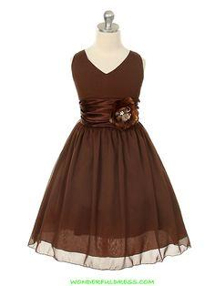 Chocolate Brown Yoru Chiffon Flower Girl Dress
