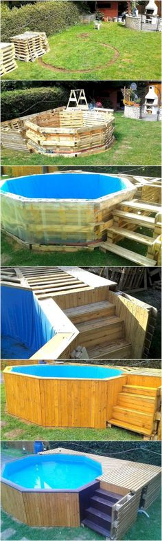 DIY Reclaimed Wood Pallets Garden Pool Plan: Here we come with reclaimed wood pallets garden pool plan. It also offers a great utility to craft the furniture of Pallet Furniture Designs, Wooden Pallet Furniture, Furniture Projects, Wood Pallets, Outdoor Furniture, Entryway Furniture, Paint Furniture, Piscina Pallet, Pallet Pool