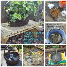Dip your wicker basket in hypertufa concrete for the garden. Well if you are like me I like how potted plants looks in baskets sitting in the garden and even on the deck. But there is a problem… Diy Concrete Planters, Wooden Garden Planters, Glass Garden Art, Basket Planters, Concrete Garden, Wicker Baskets, Trough Planters, Garden Basket, Concrete Crafts