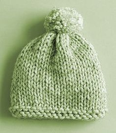 Knitted Cap with Pom Pom ~ Mint Green