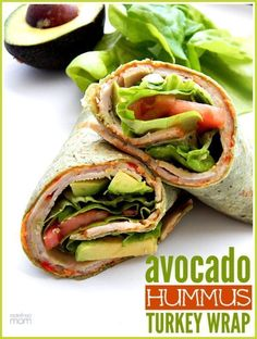 Avocado Hummus Turkey Wrap Recipe Need a summer sandwich alternative? This Avocado Hummus Turkey Wrap Recipe is a protein packed power house that will keep full all day long. Avocado Hummus, Avocado Wrap, Turkey Avocado Sandwich, Avocado Ideas, Healthy Eating Recipes, Lunch Recipes, Easy Dinner Recipes, Easy Meals, Cooking Recipes