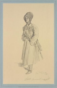 Kabardian Prince Mohammed Naursov - Painting by Theodore Gorsheltom (1829-1871)
