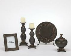 """Qadence Accessory Set (5/CN). Black and gold crackle finished. Box. Charger with Stand. 2 Candle Holders. 5""""x7"""" Photo frame."""