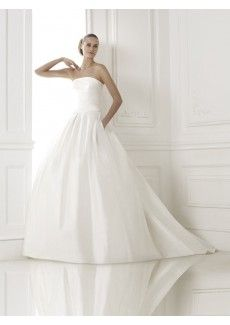 Glamorous Dramatic Ball Gown Strapless Chapel Train Satin Wedding Dress