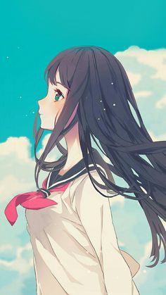 Image in kawaii girls collection by Tsuyu on We Heart It Cute Anime Girl Wallpaper, Anime Wallpaper Download, Girl Iphone Wallpaper, Android Wallpaper Anime, Chibi Wallpaper, Cool Anime Wallpapers, Animes Wallpapers, Black Wallpaper, Dark Anime Girl