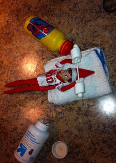 Get the elf a football jersey and next he's pumping iron and popping vitamins :)