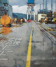 Tracy Leagjeld - Two Blue Towers Industrial Artwork, Urban Industrial, Claude Monet, Urban Landscape, Printmaking, Contemporary Illustrations, Scenery, Landscapes, Exterior