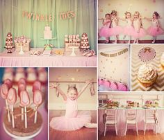 "Gorgeous, Sparkly Pink & Gold ""Twinkle Toes"" Ballerina Party - like the home ballet studio and the tulle tablecloth, the lace crowns and the gold sparkly envelopes"