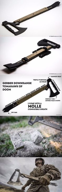 Gerber Downrange Tomahawk. 3-in-1 tomahawk that includes a hammer, pry bar and axe.