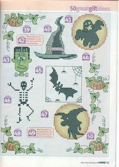 50 Halloween Cross Stitch Patterns.. no color chart, just use pattern chart colors as your guide.. or choose your own colors.