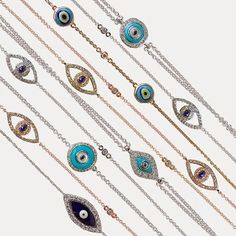 Evil eye bracelets in gold and silver with diamonds, turquoises, mother of pearls, sapphires Evil Eye Jewelry, Evil Eye Bracelet, Silver Bracelets, Beaded Bracelets, Baubles And Beads, Jewelry Photography, Mother Pearl, Diamond Are A Girls Best Friend, Beautiful Necklaces