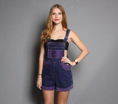 vintage 90s 2-Tone Purple Dyed Denim OVERALLS Shorts
