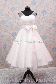 wedding dress tea length below knees 1950s 1960s with polka dot tulle 50s