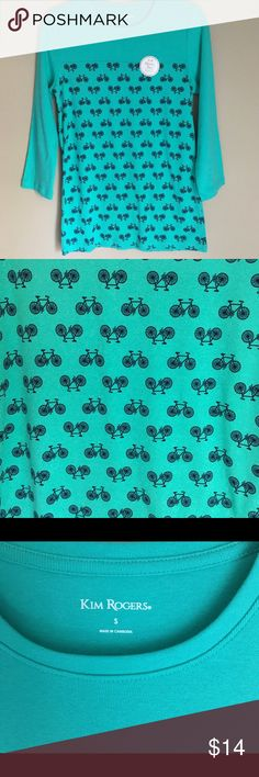"NWT Bicycle Print Green Shirt 3/4 Sleeves Small Someone needs this in their wardrobe! Really cute bicycle print. Dark mint Green with navy bicycles. New. Soft.  Plain green panel on the top keeps this print cute but not overwhelming.  3/4 Sleeves. 100% cotton  Kim Rogers Small Armpit to Armpit- 18.5"" Shoulder to Bottom- 26""  #54 Kim Rogers Tops Tees - Long Sleeve"