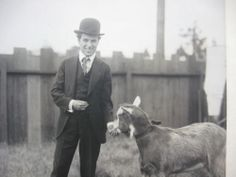 Charlie Chaplin at the Lone Star Studio in Los Angeles where he filmed his Mutual Series of 12 short films from 1916 to The goat was a pet he kept on the property - he was named appropriately enough Billy. Chaplin Film, John Hawkes, Charles Spencer Chaplin, Bad Memories, Baby Goats, Charlie Chaplin, Silent Film, Old Movies, Pets
