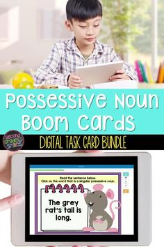 Need digital activities to practice possessive nouns? This Boom Card bundle includes three activities to help students practice identifying and using singular possessive nouns and plural possessive nouns in sentences. Perfect for distance learning! Singular Possessive Nouns, Task Cards, Sentences, Distance, Student, Activities, Learning, Digital, Words