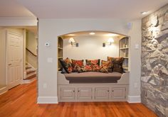 basement with stone fireplace and gray walls - Google Search