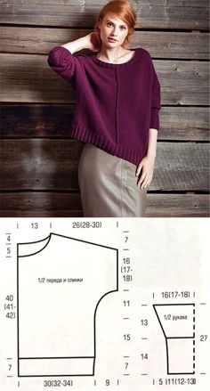 Knitted Sweater for Women pullunder, Sweater Knitting Patterns, Dress Sewing Patterns, Loom Knitting, Knitting Designs, Knitting Sweaters, Free Knitting Patterns For Women, Crochet Patterns, Pattern Sewing, Knitting Needles