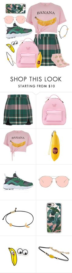 """""""banana split"""" by karla-jhoana ❤ liked on Polyvore featuring Carven, Versace, River Island, TONYMOLY, NIKE, Gentle Monster, Tadam!, Casetify, Miss Selfridge and Forever 21"""