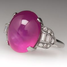 1930's+Art+Deco+Star+Pink+Sapphire+Platinum+Ring