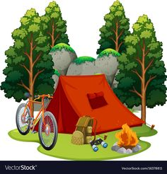 Camping site with tent and campfire vector image on VectorStock Best Tents For Camping, Camping Parties, Camping Theme, Camping World, Tent Camping, Campsite, Camping Site, Camping Snacks, Luxury Camping