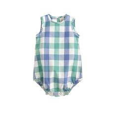 J.Crew | Baby one-piece in green-blue gingham