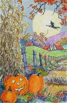 """By the Light of the Moon Storybook Cottage Halloween Series"" - Original Fine Art for Sale - © Alida Akers"