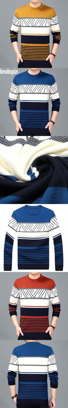 Fashion Striped Sweater Men 2017 Autumn O-neck long sleeve Casual slim Pullovers Men's sweaters warm winter Wool blends knitwear Striped Sweaters, Men's Sweaters, Wool Blend, Knitwear, Vest, Slim, Autumn, Pullover, Mens Fashion