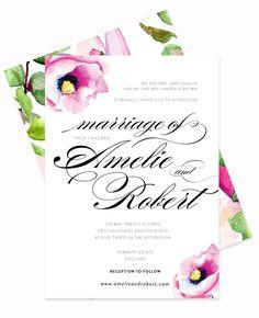 Delicate Poppy Watercolor Romantic Wedding Invitation 6