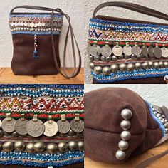 """Bruin suède tas.....   Er lag nog een lap """"stoer"""" en stevig donkerbruin suède in mijn stoffenkast, en daarvan heb ik deze tas gemaakt.   Een..."""