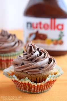 Pumpkin Cupcakes with Nutella Frosting from DessertNowDinnerLater.com