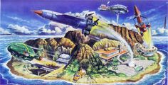 Though Thunderbirds (1965) was way before my time, it was a popular, influential show, and I remember coming across its remnants often on flea markets when I was a kid: books, plastic figures, models, comics, and the like.     Its colorful style (which I believe is making a comeback) is striking, as this art by Shigeru Komatsuzaki (1915-2001) abundantly shows. (These illustrations graced model kit boxes and picture books and the like.)