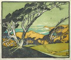 "Pedro Joseph de Lemos (1882-1945) - Harp of the Winds. Woodblock Print. Circa 1925. 8-7/8"" x 10-5/8""."