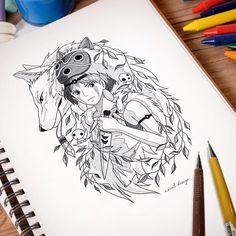 Discover recipes, home ideas, style inspiration and other ideas to try. Tatuaje Studio Ghibli, Studio Ghibli Tattoo, Studio Ghibli Art, Miyazaki Tattoo, Tattoo Zeichnungen, Princess Tattoo, Arte Sketchbook, Desenho Tattoo, Ghibli Movies