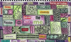 Playing with the idea of Self-Love, maybe in quilt form, in our journals could inspire great things!  #art journalling #mixed media