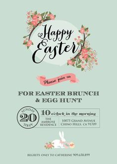 Invite print Floral Chalkboard Easter Dessert Table   CatchMyParty.com