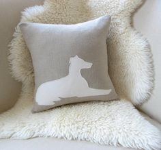 Greyhound Dog Pillow Cover Dog Silhouette Luxe Linen by VixenGoods, $50.00