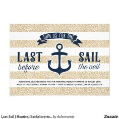 Last Sail | Nautical Bachelorette Party 5x7 Paper Invitation Card