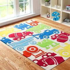 Kids Area Rug With Colorful Cars For Boys Playroom