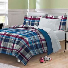 Varsity Plaid Bedding Set - Red Blue Stripes. Perfect for Back to School and College Dorms.