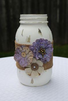 mason jar, distressed mason jar, purple mason jar, wedding centerpiece, purple wedding decor