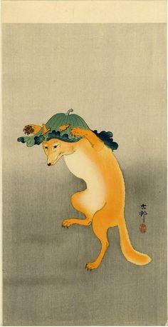 Artist:Ohara Koson Title:Dancing Fox Date:Ca. Fox Illustration, Japanese Illustration, Illustrations, Botanical Illustration, Japanese Artwork, Japanese Painting, Japanese Prints, Chinese Painting, Japanese Fox