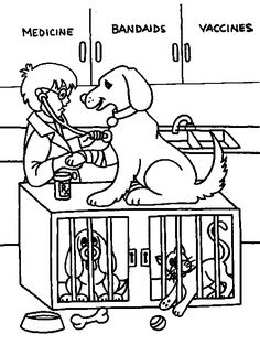 Dog and vet coloring picture. Dogs Unit Study Adventure!