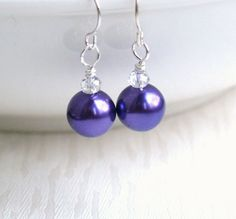 Bridesmaid Gift Purple Earrings Wedding Jewelry by LaurinWedding, $9.50
