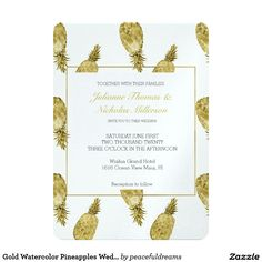 Gold Watercolor Pineapples Wedding